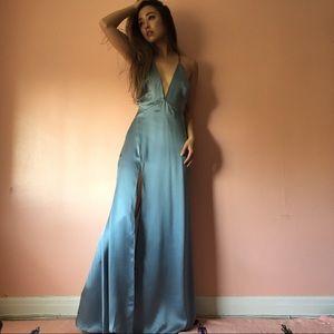 Reformation Dresses - Reformation Sky Blue Silk Plunging Dress
